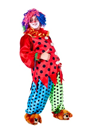 Man dressed as clown red  White background  Studio photography  photo