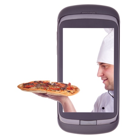 pizza delivery: order delivery pizza Stock Photo