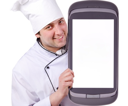 Cook holds a giant phone