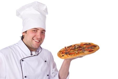 Pizza Chef Vector Male Chef Holding a Pizza Box