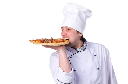 male chef holding a pizza box open Stock Photo - 13736759
