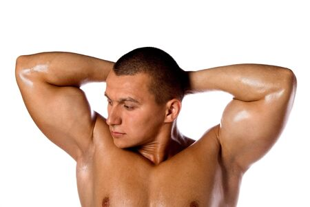 Muscled male model bodybuilder muscle Stock Photo - 13801872