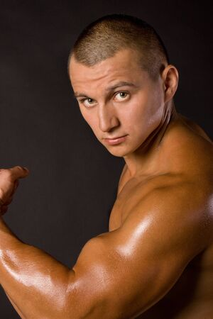 Muscled male model bodybuilder muscle Stock Photo - 13801886