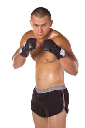 pectoral muscle: Male boxer, a fighter. Sports.