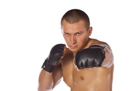 Male boxer, a fighter. Sports. photo