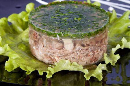 aspic meat jelle over white photo