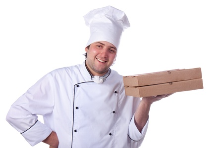 male chef holding a pizza box photo