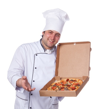 male chef holding a pizza box open photo