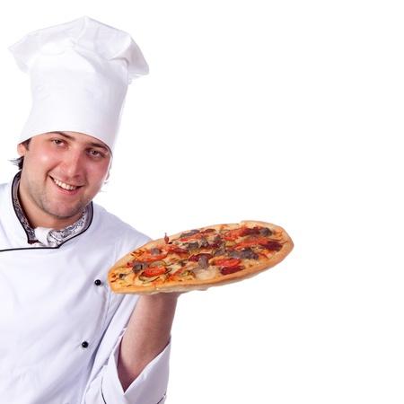 male chef holding a pizza box open photo