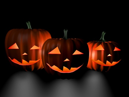 Halloween three pumpkins