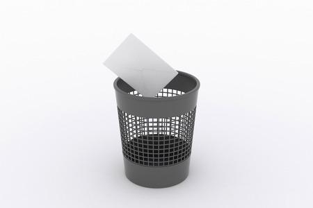 wastebasket: wastebasket and envelope, letter Stock Photo