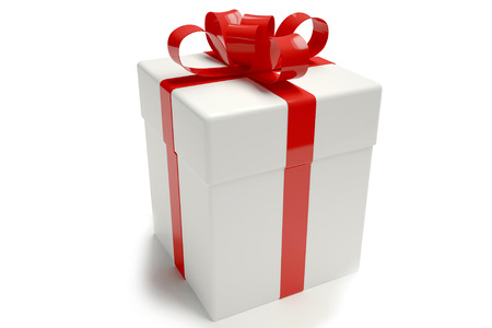 Gift box white. tied with a ribbon Banque d'images