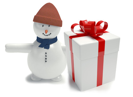 snowman. Gift box white. tied with a ribbon