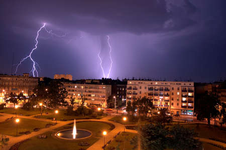 Lightning over the City  Wroclaw  Plac Macieja  photo