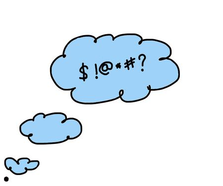 swear: illustrated cloud thinking to swear closeup isolated