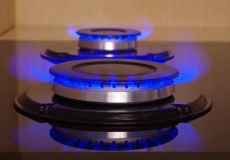 gas stove: home gas stove flame closeup