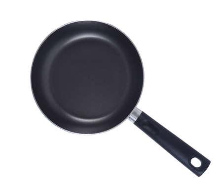 kitchen utensil: black frying pan isolated closeup