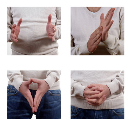 hand language: young man body language postures set closeup