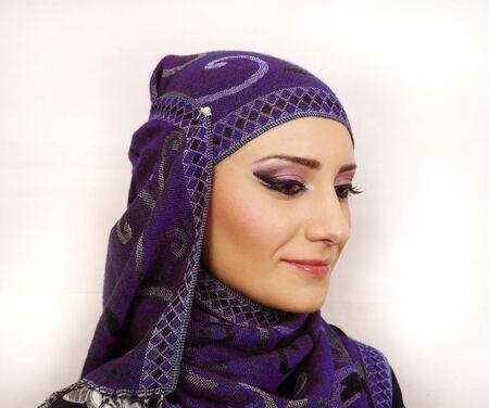 georgian: Georgian girls is wearing traditional headdress