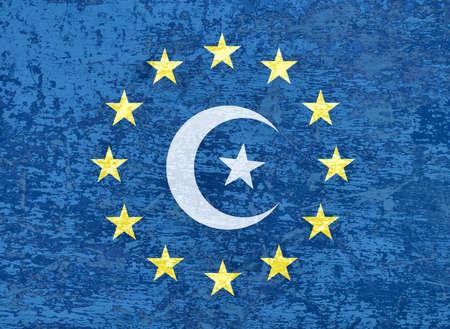 massage symbol: European Union flag with muslim symbol