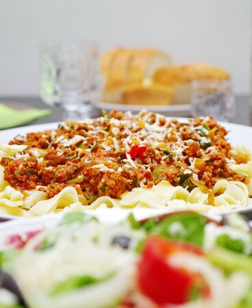 freshly cooked: freshly cooked spaghetti bolognese dish