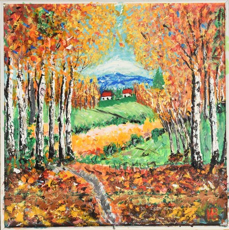 colourful painting of outhum forest with yellow trees