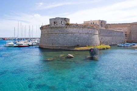 View of gallipoli castle on the sea  italy
