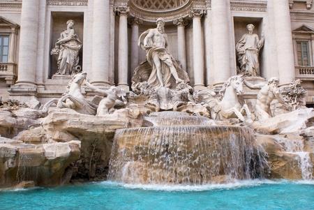 bernini: View of famous Trevi Fountain in the Trevi rione in Rome, Italy
