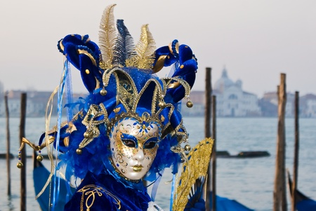 Close up of a mask witha a blue hat in Venice, Italy Stock Photo - 13511957