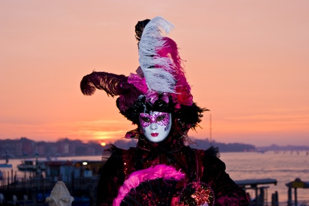Carnival mask a at dawn in Venice, Italy