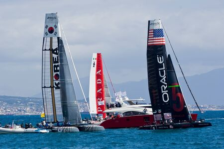 america's cup america: Naples, Italy - April 11-15, 2012 - Oracle Racing, Korea Team and Luna Rossa catamarans in America Cup World Series in the gulf of the Naples Editorial