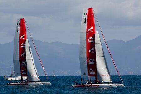 america's cup america: Naples, Italy - April 11-15, 2012 - Luna Rossa catamarans in America Cup World Series