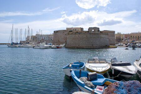 medioeval: Apulia, Italy, Europe - Sea and castle in Gallipoli Editorial