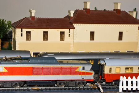 Model trains in railway station