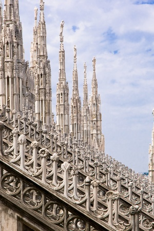aisles: A view of the spiers of the Milan cathedral in Italy, Europe Stock Photo