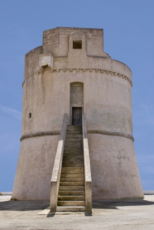 Torre Suda, a white lookout tower on the coast of Apulia in Italy Stock Photo - 15318807