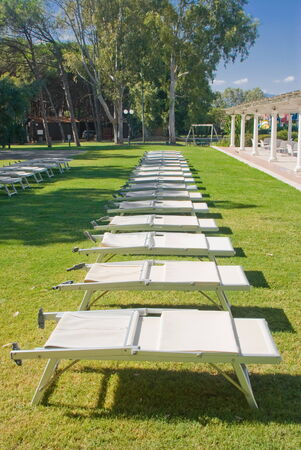 Row of sunbeds beside a lawn photo