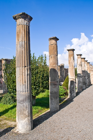 archeological: Columns in the archeological excavations of Pompeii, Italy Stock Photo