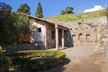 La casa de Apolo en las excavaciones arqueológicas de Pompeya, Italia
