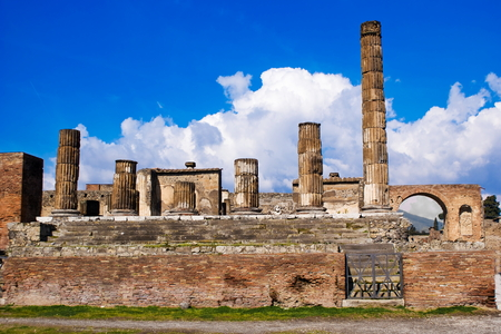 archeological: The temple of Jupiter in the archeological excavations of Pompeii, Italy Stock Photo