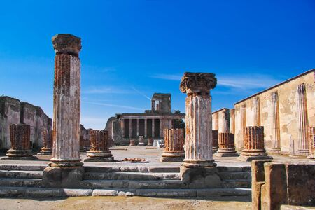 archeological: The Basilica in the archeological excavations of Pompeii, Italy Stock Photo