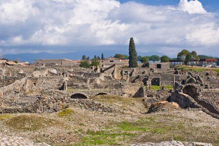 anforas: Vista de las excavaciones arqueológicas de Pompeya, Italia