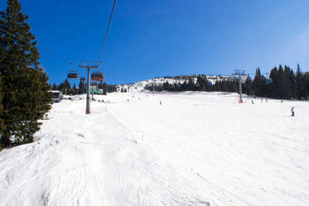 ski runs: View of an alpine ski run by the chair lift