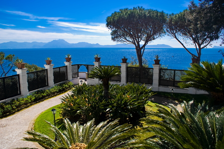 Terrace overlooking the sea in Naples, Italy