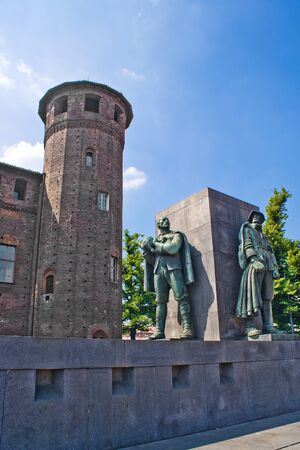 risorgimento: Tower of Madama Palace in Turin, Italy