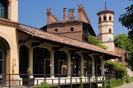 costruction: A palace in the medieval village of Turin, Italy Editorial