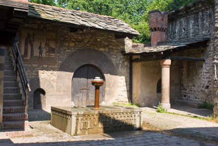 costruction: Fountain in the medieval village in Turin, Italy