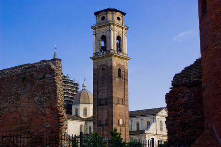 costruction: Bell tower and Cathedral of Turin, Italy Stock Photo
