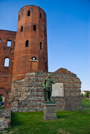 archeological: Palatin Towers and archeological excavations in Turin Stock Photo