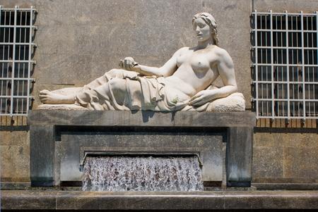 risorgimento: The fountain of Dora river in Turin, Italy Stock Photo